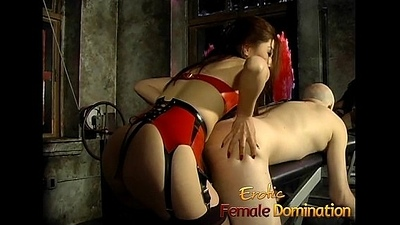 One ensnared playgirls give this weirdo beam a proper paddling