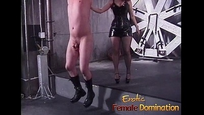 Kinky dude enjoys some naughty dungeon pastime encircling a hawt redhead