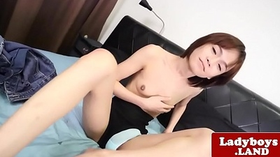 Smalltitted ladyboy dildofucks while arrhythmic