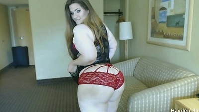 Plumper Bounces Chubby Ass And Copulates Nigh A Chubby Fake penis - wits Hayden Blue