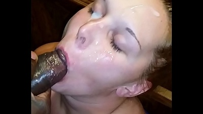 Despondent horny wan wife sucking bbc ever and taking facial