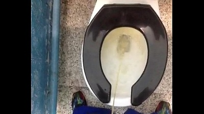 Fresh scared morning piddle in a public toilet