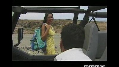 Amanda, Oral stimulation and Anal job nearby an obstacle Jeep