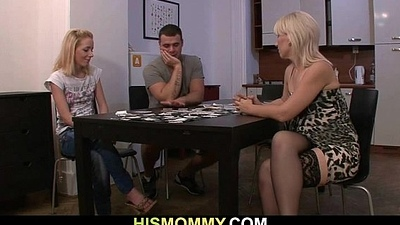 Guy leaves added to his mother toying girl