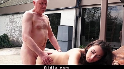 Naughty Old man Copulates My Teen Step-sister Licks Pussy This babe Gulps Jism